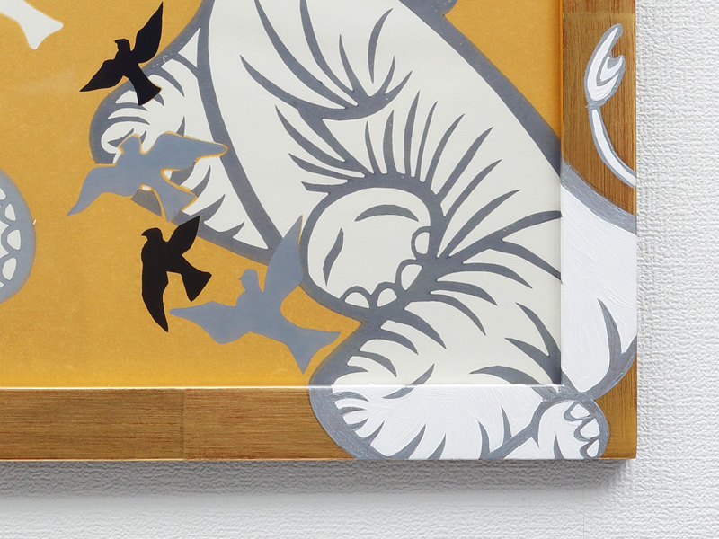 まつ九 木版画 Smiling Elephant