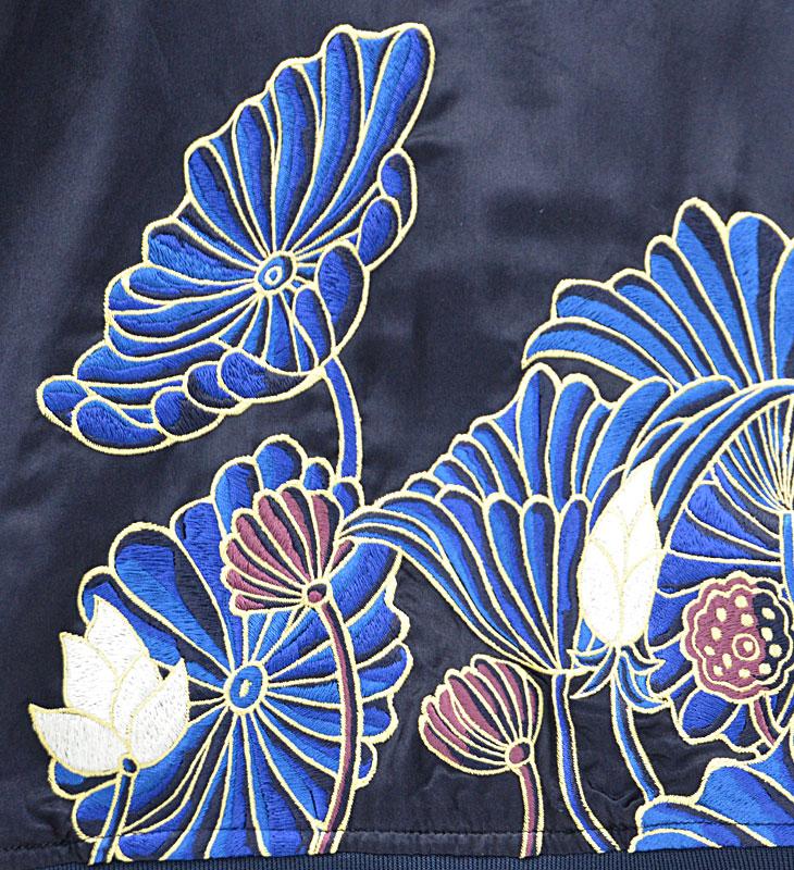 スーベニアジャケット_ネイビー ハス刺繍
